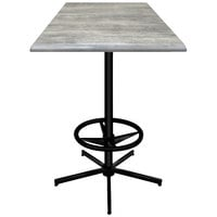 Holland Bar Stool OD21642BWOD30SQGryStn 30 inch Square Greystone Outdoor / Indoor Bar Height Table with Foot Rest Base