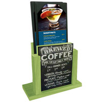 Menu Solutions WDMH-CHALK-LIME Lime Wood Menu Holder with 4 inch x 6 inch Chalk Board Insert