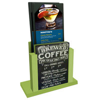Menu Solutions WDMH-CHALK Lime Wood Menu Holder with 4 inch x 6 inch Chalk Board Insert