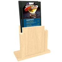 Menu Solutions WDMS-RI-NATURAL Natural Wood Menu Holder with 4 inch x 6 inch Sheet Protector