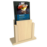 Menu Solutions WDMS-RI Natural Wood Menu Holder with 4 inch x 6 inch Sheet Protector