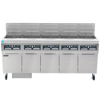 Frymaster FPPH555 Natural Gas 250 lb. 5 Unit High-Efficiency Gas Floor Fryer System with CM3.5 Controls - 400,000 BTU