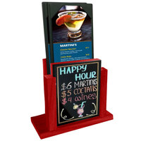 Menu Solutions WDMH-WET-BERRY Berry Wood Menu Holder with 4 inch x 6 inch Wet Erase Board Insert