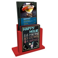Menu Solutions WDMH-WET Berry Wood Menu Holder with 4 inch x 6 inch Wet Erase Board Insert
