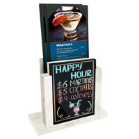 Menu Solutions WDMH-WET White Wash Wood Menu Holder with 4 inch x 6 inch Wet Erase Board Insert