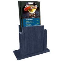 Menu Solutions WDMS-RI-DENIM Denim Wood Menu Holder with 4 inch x 6 inch Sheet Protector