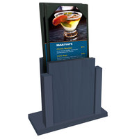 Menu Solutions WDMS-RI Denim Wood Menu Holder with 4 inch x 6 inch Sheet Protector
