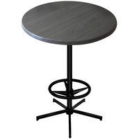 Holland Bar Stool OD21642BWOD30RChar 30 inch Round Charcoal Outdoor / Indoor Bar Height Table with Foot Rest Base