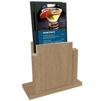 Menu Solutions WDMS-RI-WEATHWALNUT Weathered Walnut Wood Menu Holder with 4 inch x 6 inch Sheet Protector