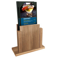 Menu Solutions WDMS-RI Weathered Walnut Wood Menu Holder with 4 inch x 6 inch Sheet Protector