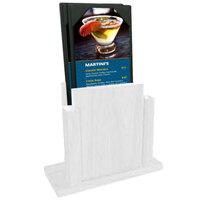 Menu Solutions WDMS-RI-WHITEWASH White Wash Wood Menu Holder with 4 inch x 6 inch Sheet Protector