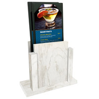 Menu Solutions WDMS-RI White Wash Wood Menu Holder with 4 inch x 6 inch Sheet Protector