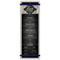 Menu Solutions ALSIN44-RB Alumitique 4 1/4 inch x 14 inch Customizable Brushed Aluminum Menu Board with Navy Bands