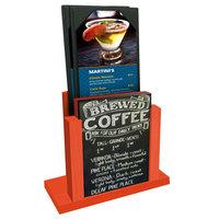 Menu Solutions WDMH-CHALK Mandarin Wood Menu Holder with 4 inch x 6 inch Chalk Board Insert