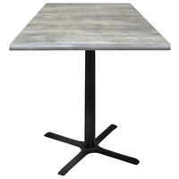 Holland Bar Stool OD211-3030BWOD36SQGryStn 36 inch Square Greystone Outdoor / Indoor Standard Height Table with Cross Base