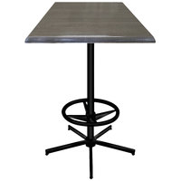 Holland Bar Stool OD21642BWOD30SQChar 30 inch Square Charcoal Outdoor / Indoor Bar Height Table with Foot Rest Base
