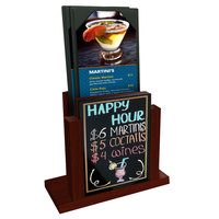 Menu Solutions WDMH-WET Mahogany Wood Menu Holder with 4 inch x 6 inch Wet Erase Board Insert