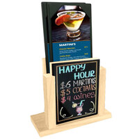 Menu Solutions WDMH-WET-NATURAL Natural Wood Menu Holder with 4 inch x 6 inch Wet Erase Board Insert