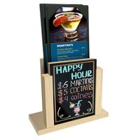 Menu Solutions WDMH-WET Natural Wood Menu Holder with 4 inch x 6 inch Wet Erase Board Insert