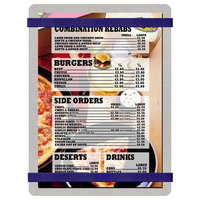 Menu Solutions ALSIN57-RB Alumitique 5 inch x 7 inch Customizable Brushed Aluminum Menu Board with Navy Bands
