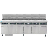 Frymaster FPPH655 Natural Gas 300 lb. 6 Unit High-Efficiency Gas Floor Fryer System with CM3.5 Controls - 480,000 BTU