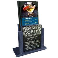 Menu Solutions WDMH-CHALK-DENIM Denim Wood Menu Holder with 4 inch x 6 inch Chalk Board Insert