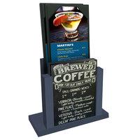 Menu Solutions WDMH-CHALK Denim Wood Menu Holder with 4 inch x 6 inch Chalk Board Insert