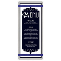 Menu Solutions ALSIN41-RB Alumitique 4 1/4 inch x 11 inch Customizable Brushed Aluminum Menu Board with Navy Bands