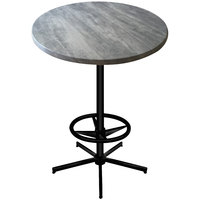 Holland Bar Stool OD21642BWOD30RGryStn 30 inch Round Greystone Outdoor / Indoor Bar Height Table with Foot Rest Base