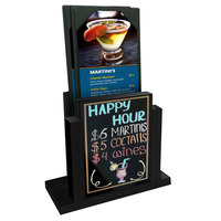 Menu Solutions WDMH-WET Black Wood Menu Holder with 4 inch x 6 inch Wet Erase Board Insert