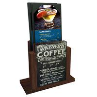 Menu Solutions WDMH-CHALK Walnut Wood Menu Holder with 4 inch x 6 inch Chalk Board Insert