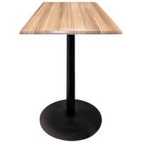 Holland Bar Stool OD214-2230BWOD30SQNat 30 inch Square Natural Outdoor / Indoor Standard Height Table with Round Base