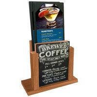 Menu Solutions WDMH-CHALK-COUNTRYOAK Country Oak Wood Menu Holder with 4 inch x 6 inch Chalk Board Insert