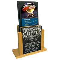 Menu Solutions WDMH-CHALK Country Oak Wood Menu Holder with 4 inch x 6 inch Chalk Board Insert