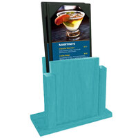 Menu Solutions WDMS-RI-SKYBLUE Sky Blue Wood Menu Holder with 4 inch x 6 inch Sheet Protector