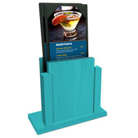 Menu Solutions WDMS-RI Sky Blue Wood Menu Holder with 4 inch x 6 inch Sheet Protector