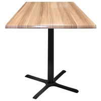 Holland Bar Stool OD211-3030BWOD36SQNat 36 inch Square Natural Outdoor / Indoor Standard Height Table with Cross Base