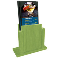 Menu Solutions WDMS-RI-LIME Lime Wood Menu Holder with 4 inch x 6 inch Sheet Protector