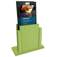 Menu Solutions WDMS-RI Lime Wood Menu Holder with 4 inch x 6 inch Sheet Protector