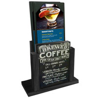 Menu Solutions WDMH-CHALK-BLACK Black Wood Menu Holder with 4 inch x 6 inch Chalk Board Insert