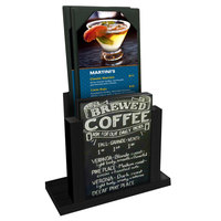 Menu Solutions WDMH-CHALK Black Wood Menu Holder with 4 inch x 6 inch Chalk Board Insert