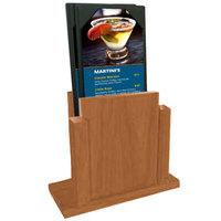 Menu Solutions WDMS-RI-COUNTRYOAK Country Oak Wood Menu Holder with 4 inch x 6 inch Sheet Protector