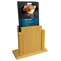 Menu Solutions WDMS-RI Country Oak Wood Menu Holder with 4 inch x 6 inch Sheet Protector