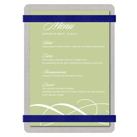 Menu Solutions ALSIN46-RB Alumitique 4 inch x 6 inch Customizable Brushed Aluminum Menu Board with Navy Bands