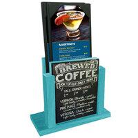 Menu Solutions WDMH-CHALK-SKYBLUE Sky Blue Wood Menu Holder with 4 inch x 6 inch Chalk Board Insert
