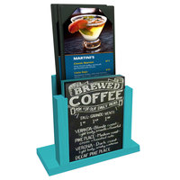 Menu Solutions WDMH-CHALK Sky Blue Wood Menu Holder with 4 inch x 6 inch Chalk Board Insert