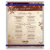 Menu Solutions ALSIN811-RB Alumitique 8 1/2 inch x 11 inch Customizable Brushed Aluminum Menu Board with Navy Bands