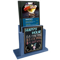 Menu Solutions WDMH-WET-TRUEBLUE True Blue Wood Menu Holder with 4 inch x 6 inch Wet Erase Board Insert