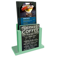 Menu Solutions WDMH-CHALK Washed Teal Wood Menu Holder with 4 inch x 6 inch Chalk Board Insert