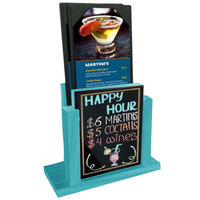 Menu Solutions WDMH-WET-SKYBLUE Sky Blue Wood Menu Holder with 4 inch x 6 inch Wet Erase Board Insert